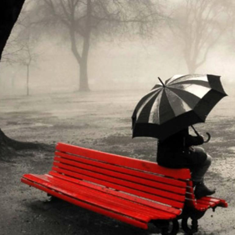 lonely-girl-sitting-on-bench-summer-rain-facebook-timeline-cover,1366x768,66998 - red bench