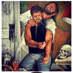 man injecting heroin in arm - Jesus is with him