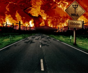 road leading to fiery place with road sign reading Hell 1000m