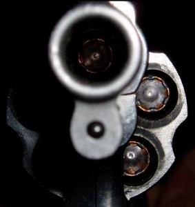 closeup - looking down barrel of revolver