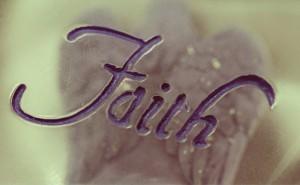 Faith carved into decorative rock