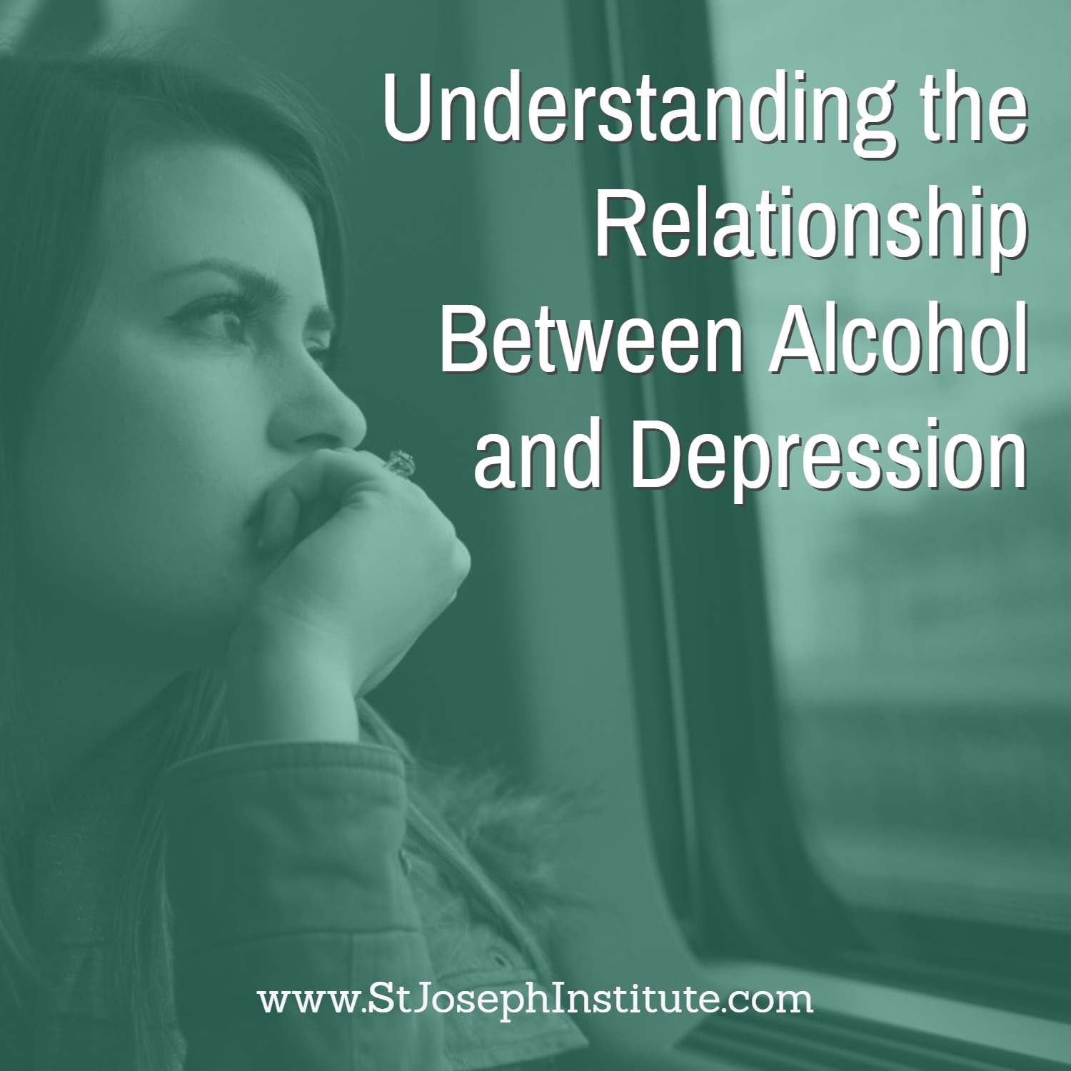 sad woman looking out train window - Understanding the relationship between alcohol and depression