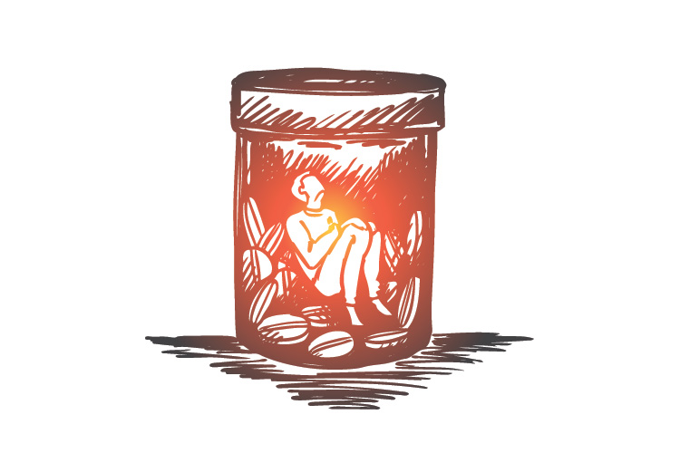person trapped in pill bottle drawing