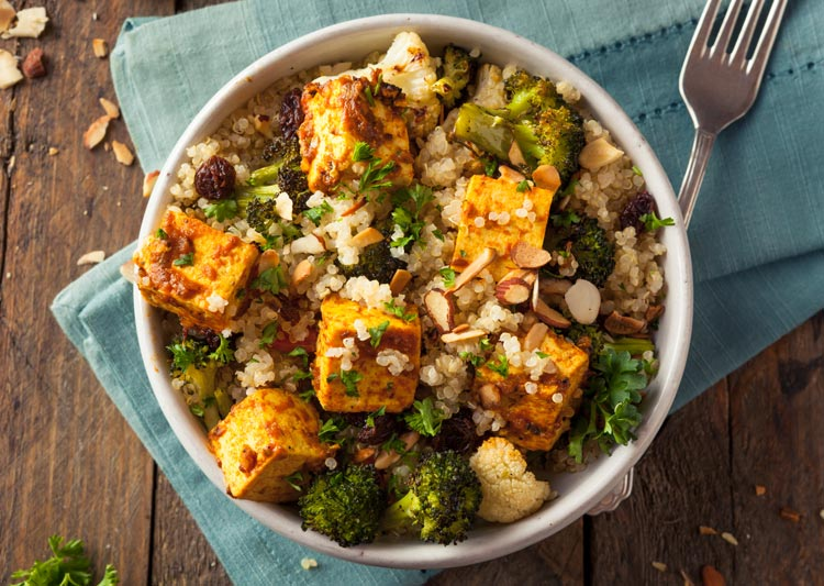 bowl of tofu, rice, grains, and veggies - diet