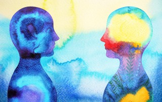 watercolor painting of two people facing each other - bright colors - cognitive behavioral therapy