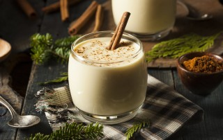 close up - eggnog on holiday table - non-alcoholic
