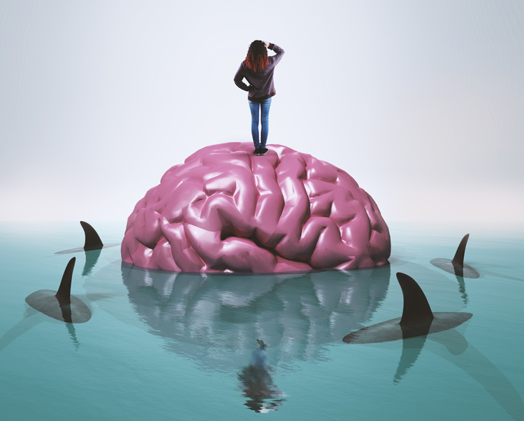 illustration - woman standing on brain in water surrounded by sharks - tolerance