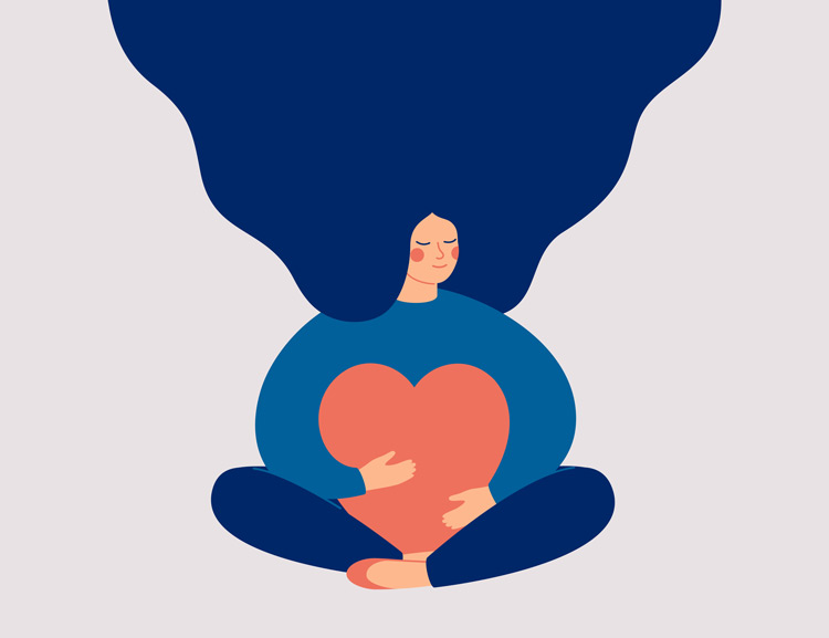 illustration of woman with long flowing blue hair, holding a heart - help yourself